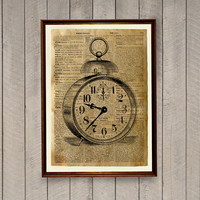 Vintage decor Clock print Watch poster Dictionary page