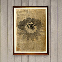 All seeing eye print Magic scroll Dictionary page Occult decoration