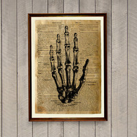 Anatomy illustration Human hand poster Vintage decor Old dictionary print