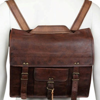Leather Messenger cum Backpack Leather Men's Laptop/Messenger/Satchel Shoulder Handbag/Bags Handmade Pure Genuine Soft Leather Briefcase