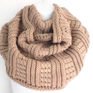 Womens Knitted Scarf, Mocha Chunky Knit Scarf, Knit Infinity Scarf, Infinity Scarf, Oversized Scarf, Hand Knitted Scarf, Poncho from My fashion creations