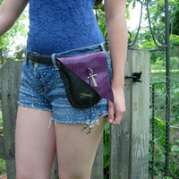 Hand Stitched Leather Belt Pouch, Black and Purple Genuine Leather, Hands Free, Fanny Pack Style