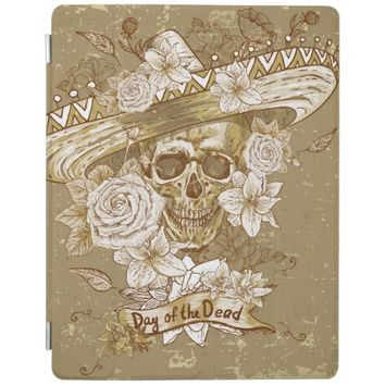 Sugar Skull with Flowers Apple iPad Cover