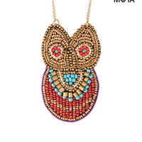 Beaded Owl Long-Strand Necklace