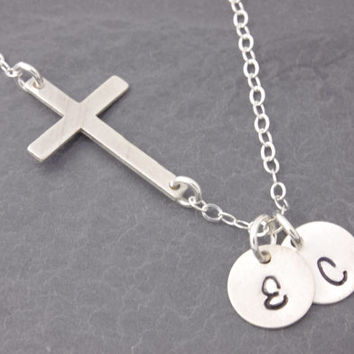 Personalized Cross Necklace, sideways cross necklace, religious necklace, initial necklace, personalized jewelry, engraved necklace, N14
