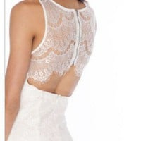 White Lace Open Back Dress