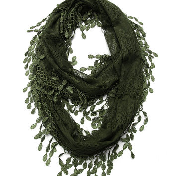 Cozy by LuLu - Deep Green Lace Infinity Scarf