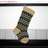 Knit Christmas Stocking, Striped Stocking in Green and off White, personalized stocking