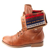 Fair Isle-Lined Fold-Over Combat Boots
