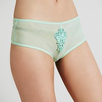 Skivvies by For Love & Lemons Womens Sheer Applique Cheeky Undie -