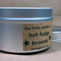 Soy Candle Tin: Hot Fudge Brownie Scented Container Candles
