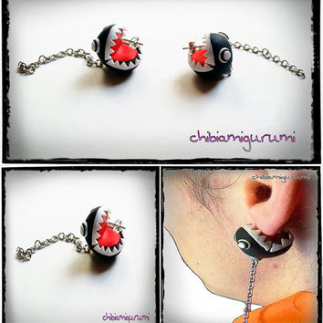 Chomp chain earrings charm chibi in polymer clay inspired from Super Mario Nintendo videogame piranhe flower.You can choose surgical steel