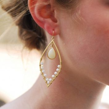 Gold & Ivory Statement Earring - Lotus Boutique