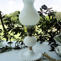 White hobnail milk glass hurricane lamp