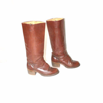 size 7 vintage campus boots / caramel leather BOHO hippie chic tall 1970s riding boots