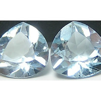 Sky Blue Topaz Faceted Gemstone pair Loose Unset Gem Jewels Enhanced Trillion Cut 2 carats 7 mm