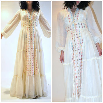 boho wedding dress / 1970s vintage gunne sax dress corset hippie chic floral maxi gown