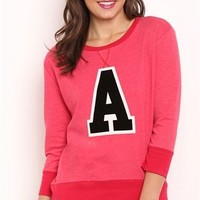 High Low French Terry Top with Letter A Screen