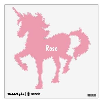Rose Pink Personalized Unicorn Wall Decal