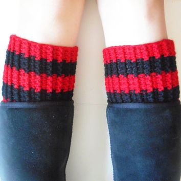 Red and Black Striped Chunky Boot Cuffs, vegan, ready to ship.