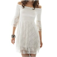Allegra K Lady Ruffle 3/4 Sleeve Off Shoulder Lace Dress Top White XS:Amazon:Clothing