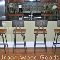 "Reclaimed Wood and Steel Industrial Shop Stool. Made in Chicago. Qty (3) 30"" bar height with backs. QUICK SHIPPING"