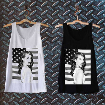 lana del rey american flag best customized design for Tank top Mens and Tank top Girls , sizes S - XXL