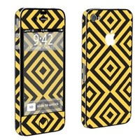 Apple iPhone 4 or 4s Full Body Vinyl Protection Decal Skin Black Yellow Square:Amazon:Cell Phones & Accessories