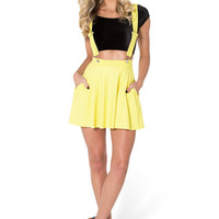 Matte Yellow Pinafore Pocket Skater Skirt