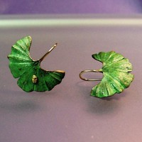 Ginkgo earrings with tiny 18k insect Made to by PatrickIrlaJewelry