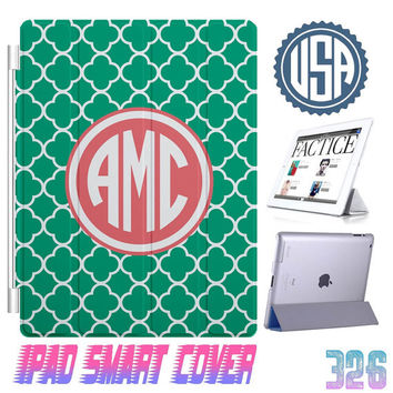 Green Custom IPhone 5 Monogram @ IPad Air Smart Cover , IPad Mini Smart Cover IPad 4 Case , IPad 3 2 IPhone 5  4 4S Magnetic Sleep Wake #326