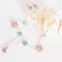 Nautical Sailboat Necklace with Green, Blue and Pink Mussel Shells