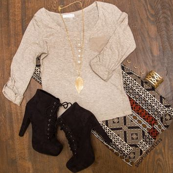 Pieces Of Me Top - Taupe