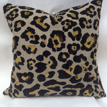 Leopard chenille decorative pillow slip cover