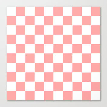 Coral Pink Checker Squares Stretched Canvas by BeautifulHomes | Society6