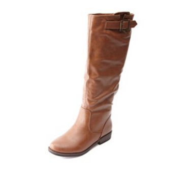 BAMBOO BELTED FLAT KNEE-HIGH RIDING BOOTS