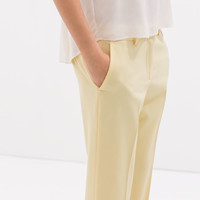 Light wool ankle cropped trousers
