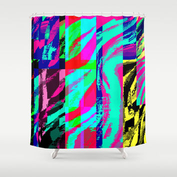 """Segments Glitch"" by Jeffrey Scott Spragg Shower Curtain by JSS Art Studio"