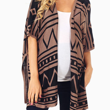 Brown Black Tribal Printed Open Maternity Cardigan