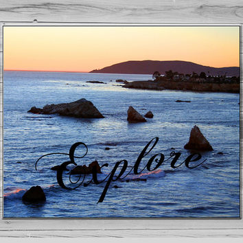 Explore Photograph, Beach Photography, Typography Print, Ocean Photo, Inspirational quote, Photo quote print