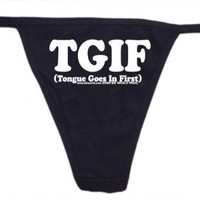 Tongue Goes In First Womens Thong Underwear:Amazon:Clothing