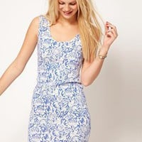 ASOS Bodycon Dress In Wallpaper Print at asos.com