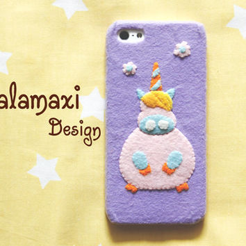 Handmade Felt Unicorn Phone Case, Overweight Cartoon Unicorn Case, Handcraft Felt Unicorn Case for iPhone 4/4S/5/5S/5C, Overweight Unicorn