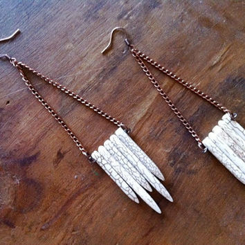 Howlite Turquoise Spikes Long Chain Earrings