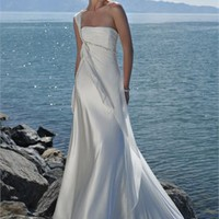 One SHoulder Strap Beaded Chiffon Beach Wedding Dress WDB002