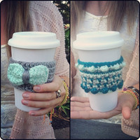 CROCHET Coffee Cozy Set of Two - TEAL and MINT