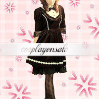 Lolita Costumes Black Bow Cotton Gothic Lolita Dress [T110508] - $77.00