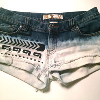Bleached dip-dyed denim shorts aztec paint