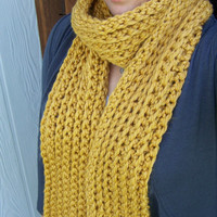 Chunky Ribbed Scarf - Mustard Yellow