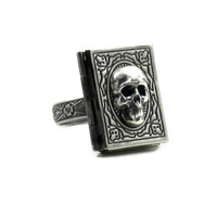 Gothic Mourning Photo Locket Ring - El Libro del Muerto - Book of the Dead with Adjustable Floral Embellished Band - By Ghostlove